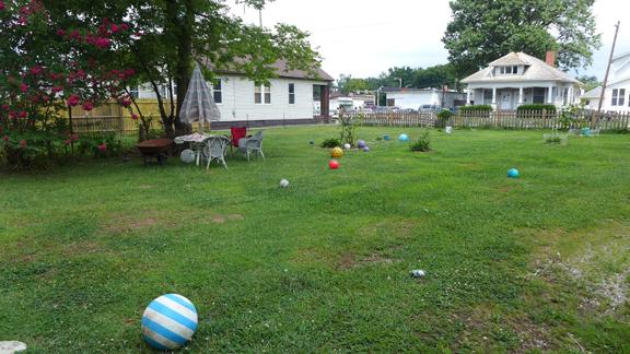 Bouncy Balls as Lawn Art