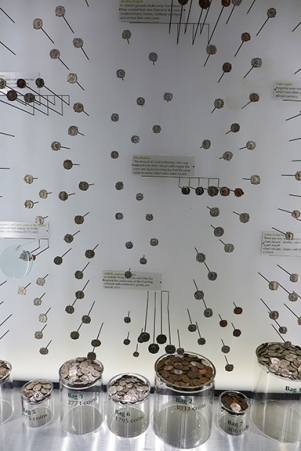 coins tossed in as offerings to Minerva