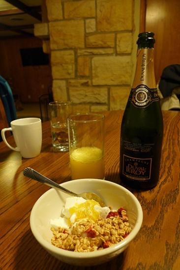 yogurt, granola, and mimosas