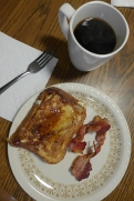 cinnamon bread cinnamon toast, maple syrup, and bacon